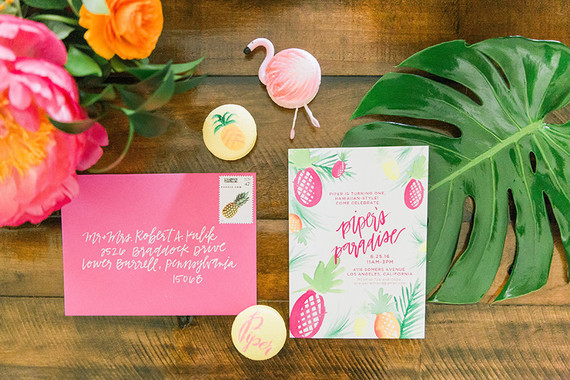 Tropical 1st birthday party invites