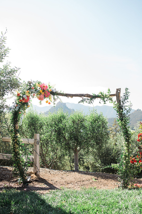 Rustic wedding ceremony