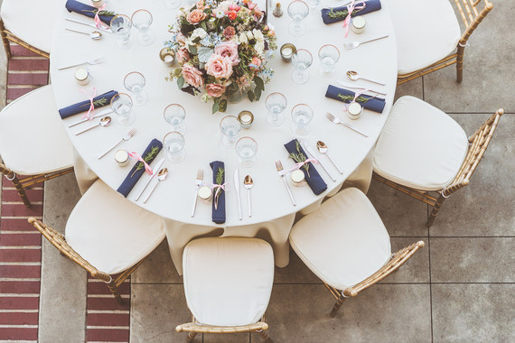 Modern pink and blue tablescape