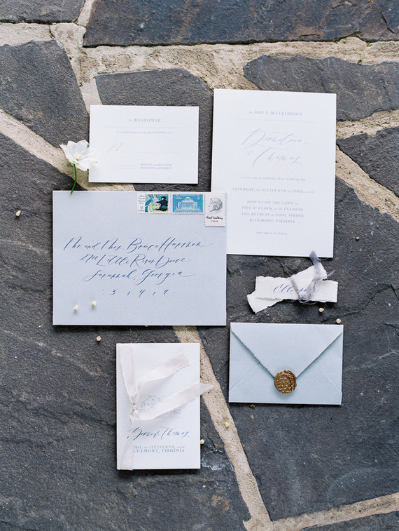 Elegant blue wedding invitations