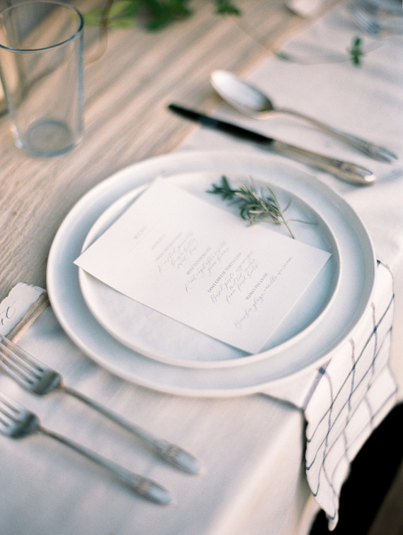 white and blue place setting