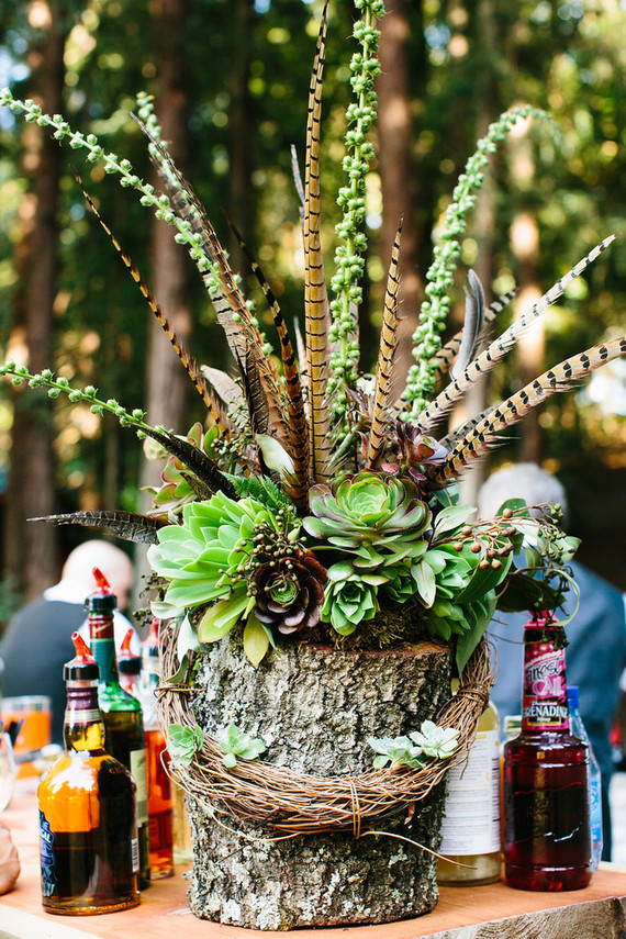 Woodland wedding decor