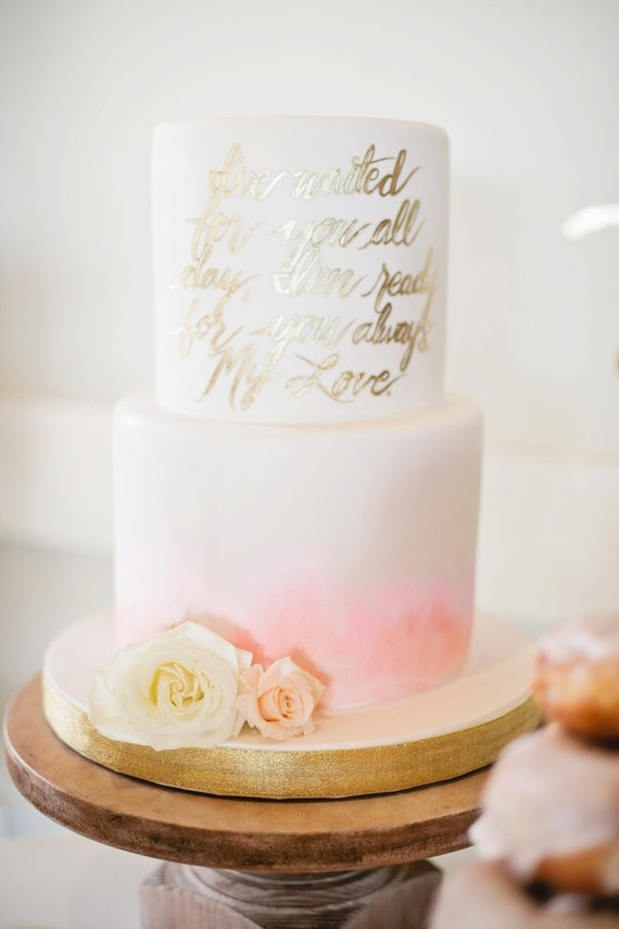 pink and gold baby shower cake