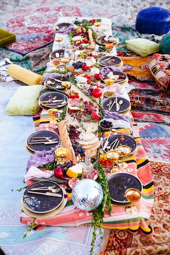 bohemian beachside fall picnic