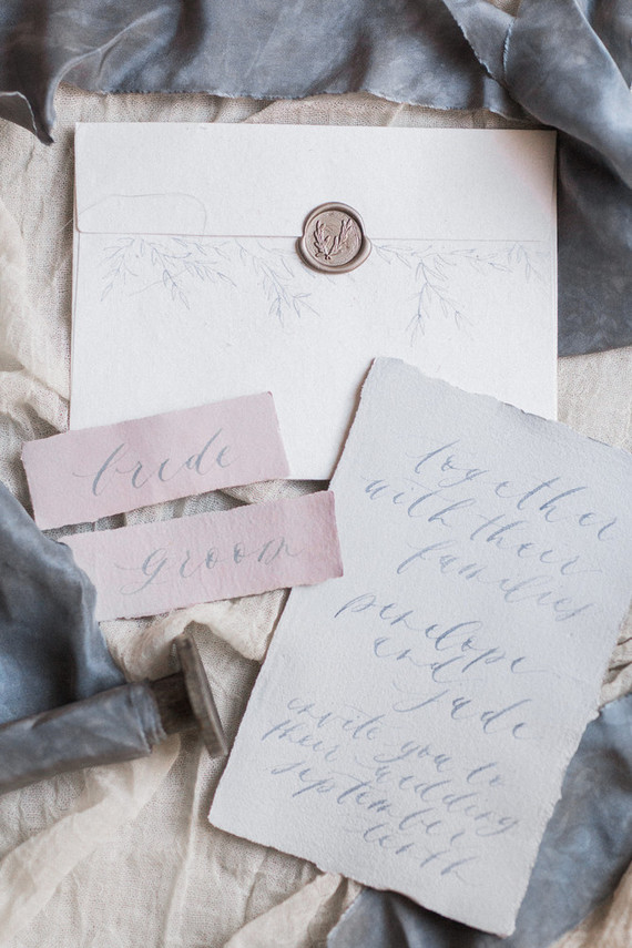 Dusty blue wedding invitation