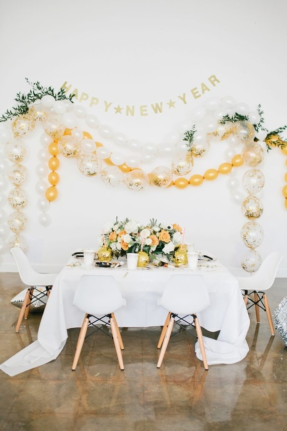 Modern cream and gold balloon garland
