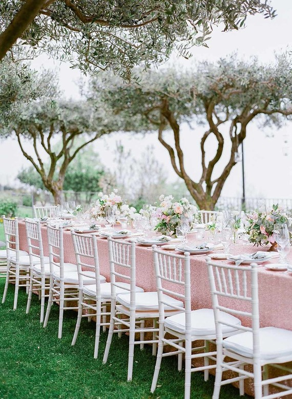 Romantic garden wedding reception