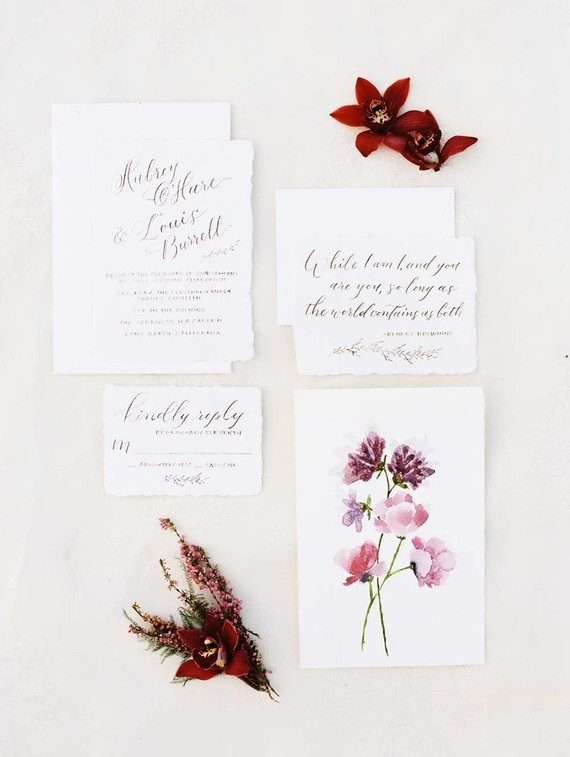 Burgundy wedding invitations