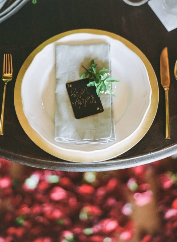 Gold winter place setting