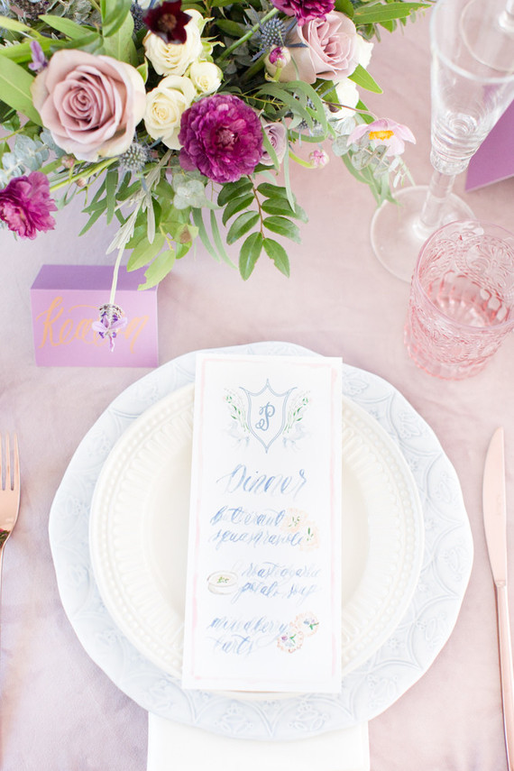 Blue and pink place setting