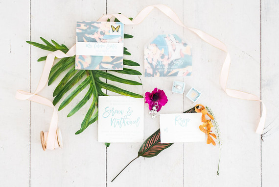 Tropical wedding invitations
