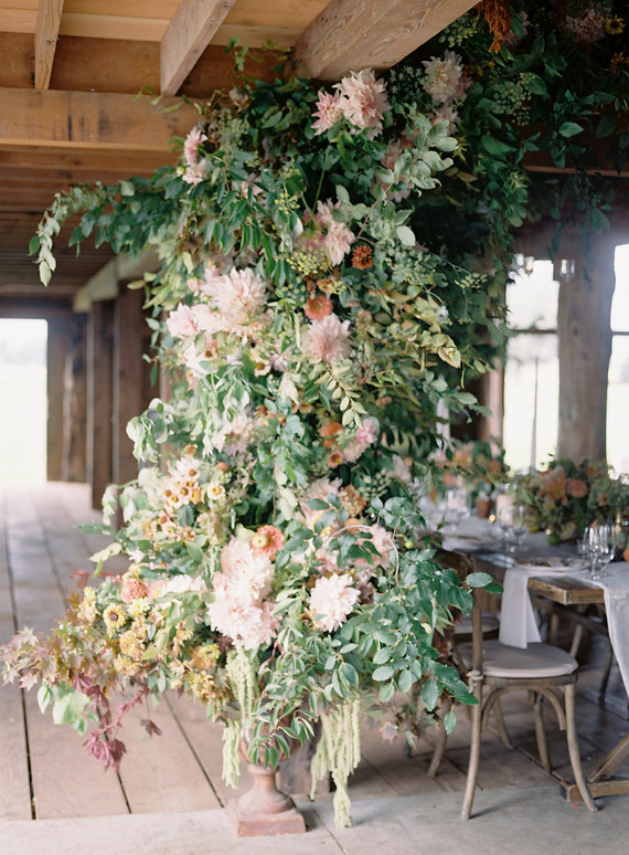Floral Installation With Floret Flower Farm Wedding Party Ideas 100 Layer Cake