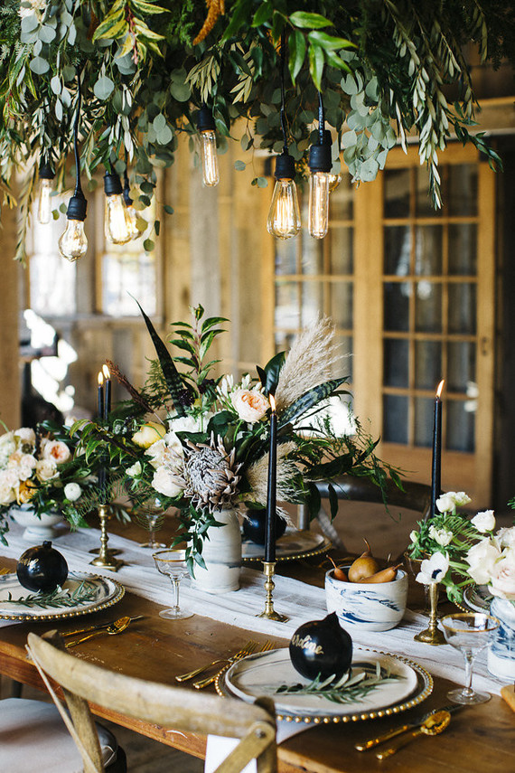 Hanging greenery wedding party ideas layer cake