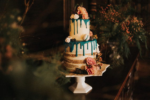 Moody floral wedding cake