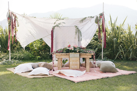 Bohemian wedding guest table