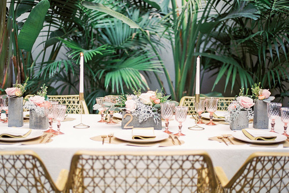 Tropical gold tablescape