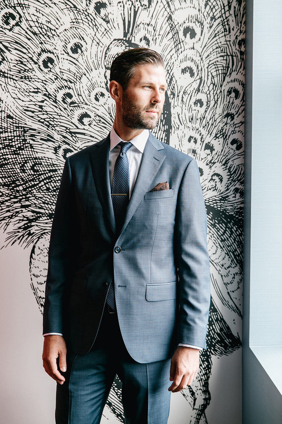 Gray groom's suit