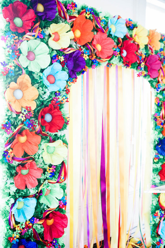 Paper flower ceremony backdrop