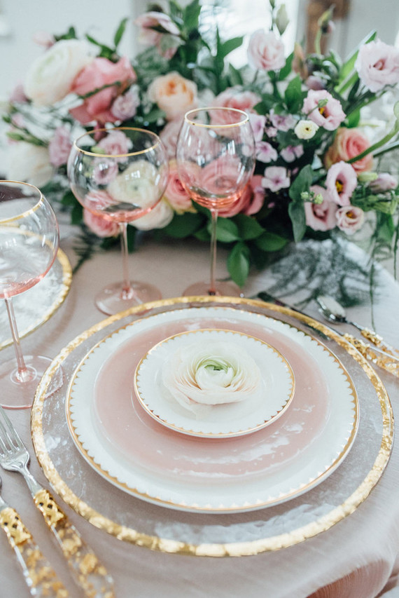pink and gold place setting wedding party ideas 100. Black Bedroom Furniture Sets. Home Design Ideas