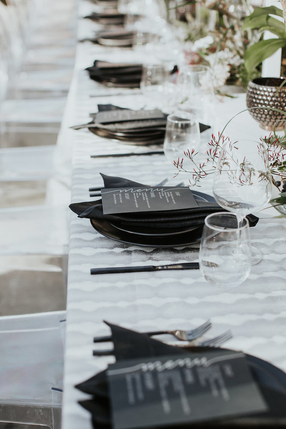Black place settings
