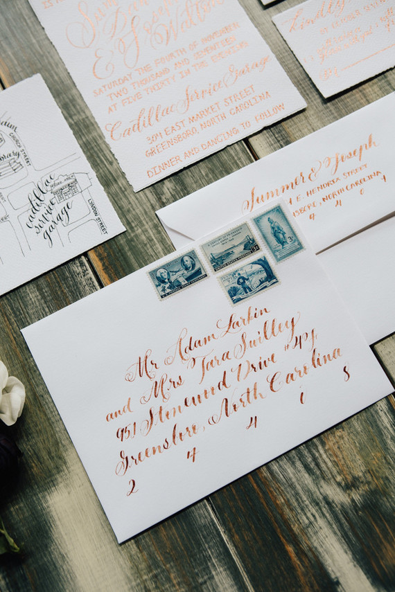 Hand lettered invitations