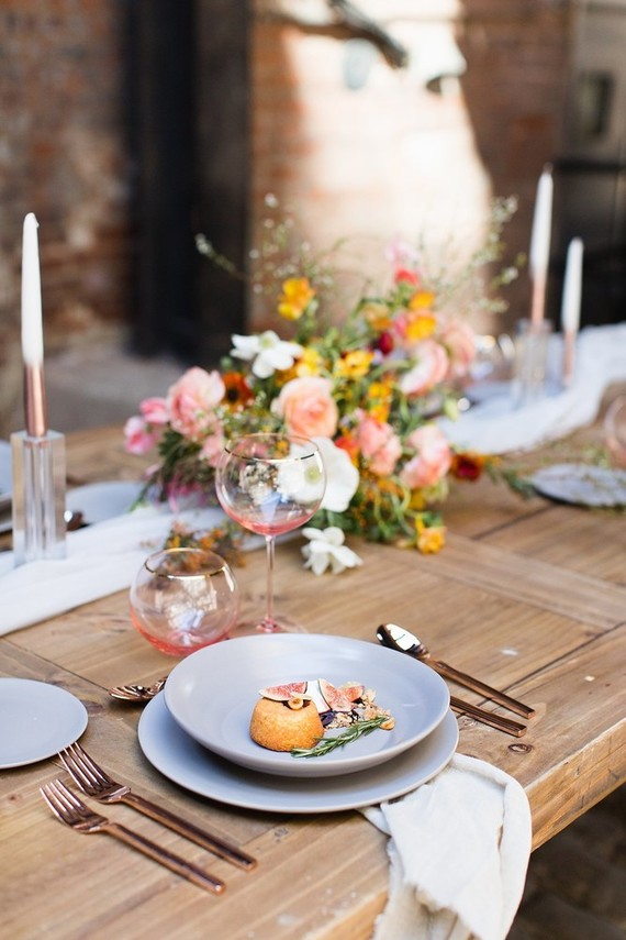 Gray place setting