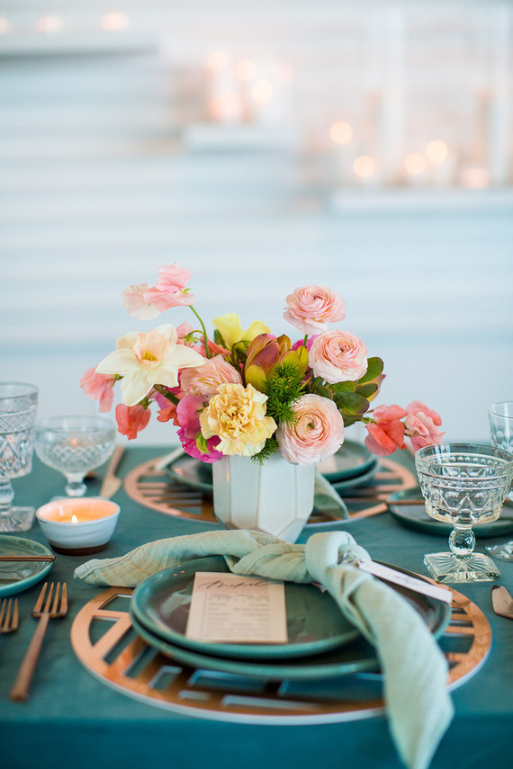 Teal place setting