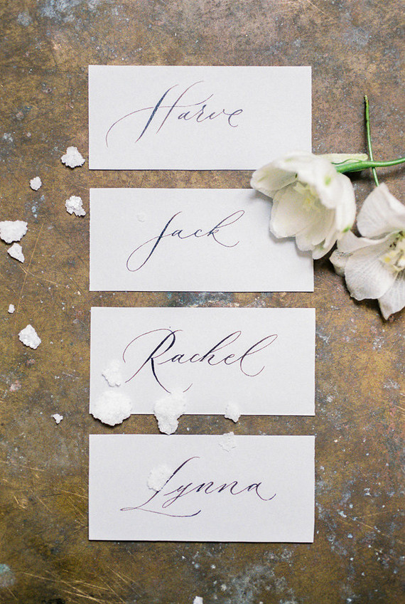 escort cards with calligraphy