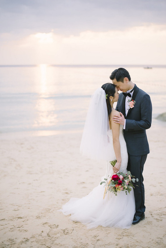 pink watercolor-inspired beach wedding in Phuket, Thailand