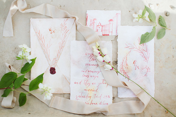 Handdrawn wedding invitations