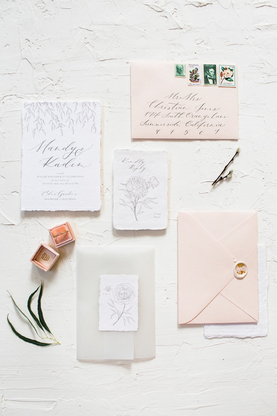 blush wedding invitations