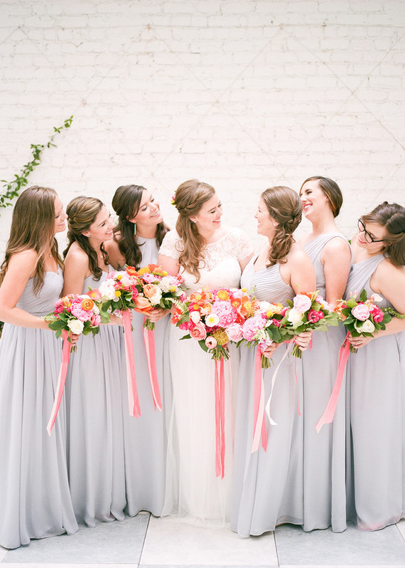pink and grey bridesmaids
