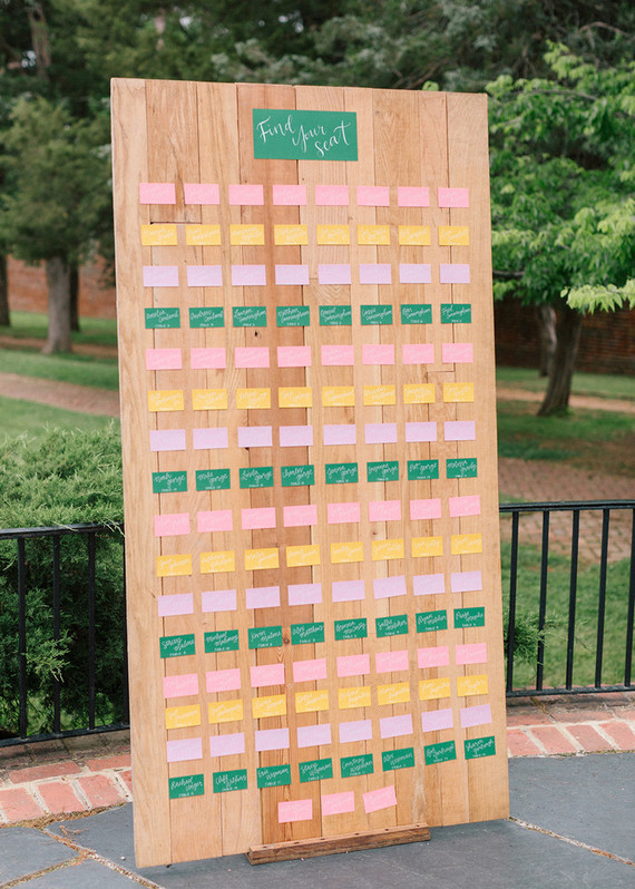 colorful wedding seating chart