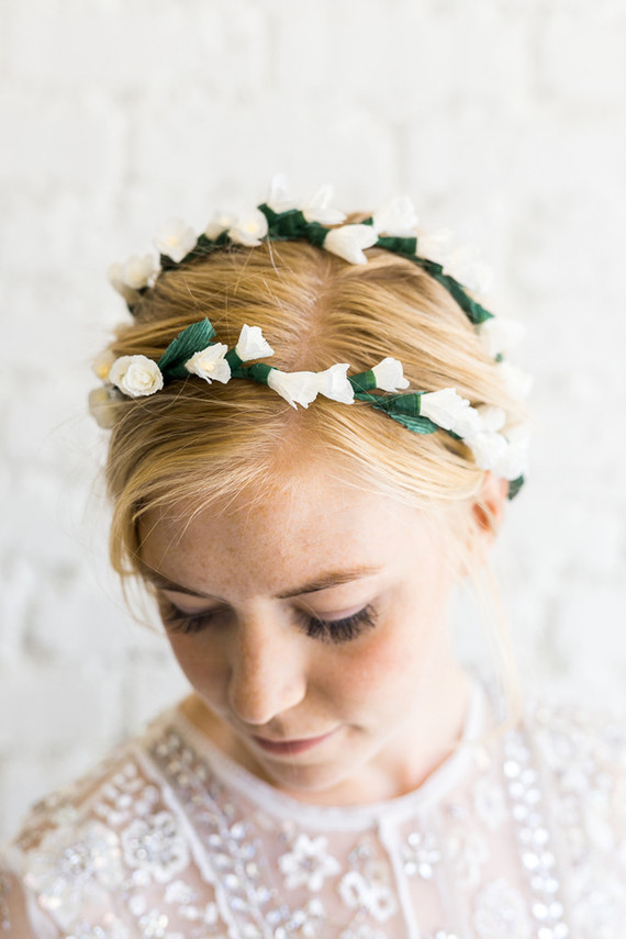 DIY paper flower headpiece from House That Lars Built