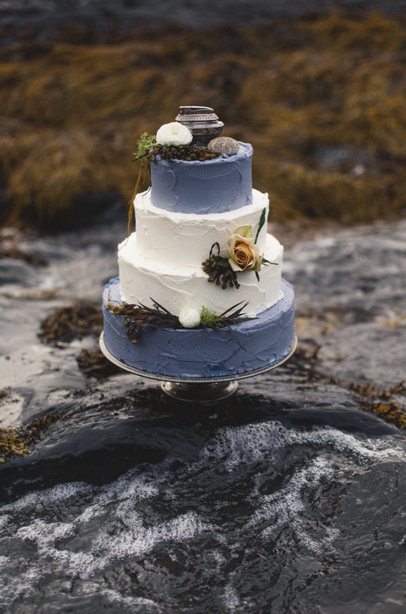 Moody shipwreck inspired wedding cake