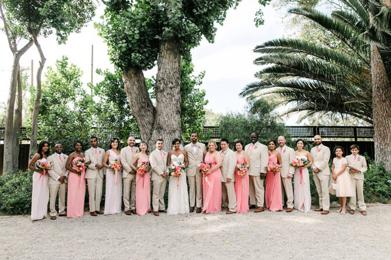 Tropical coral garden wedding party