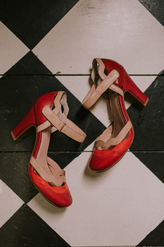 chunky red wedding shoes