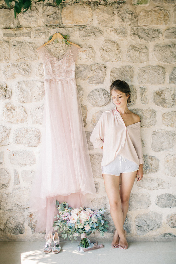 Pink bridal dress | Romantic Montenegro elopement on 100 Layer Cake