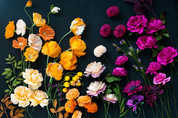 fall colored paper flowers