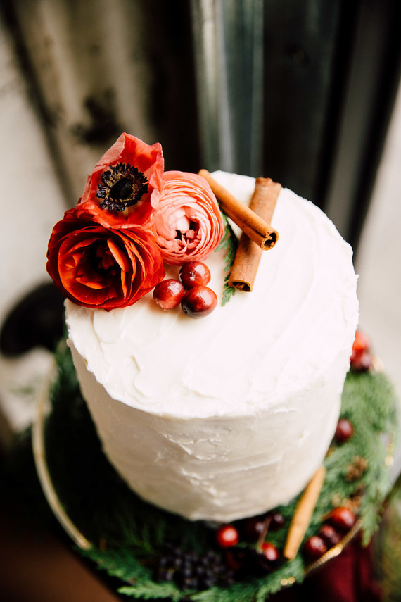 Small wintery wedding cake