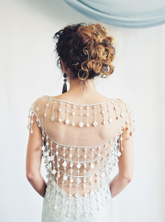 unique beaded back wedding dress