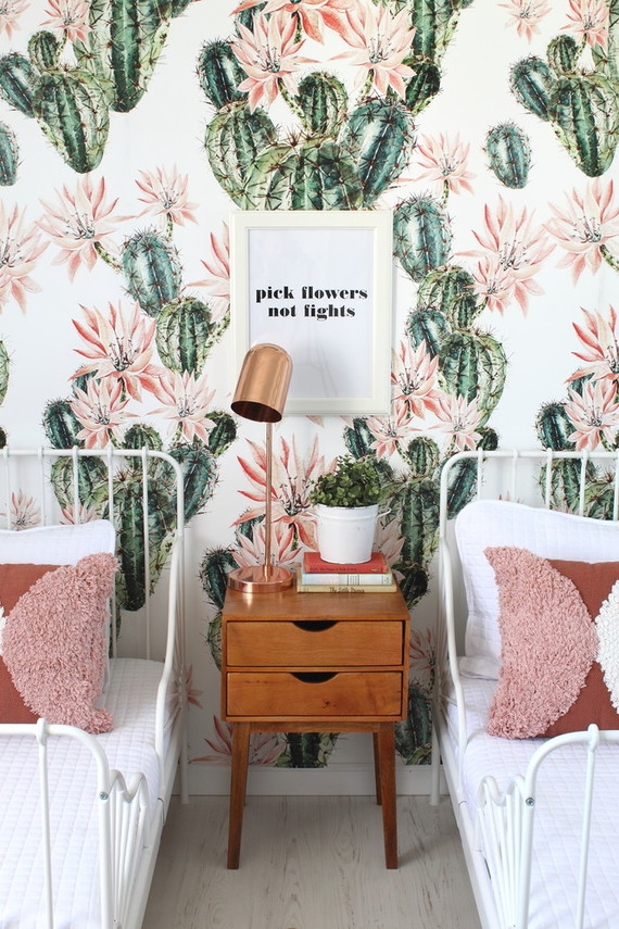 Cactus inspired shared room for sisters