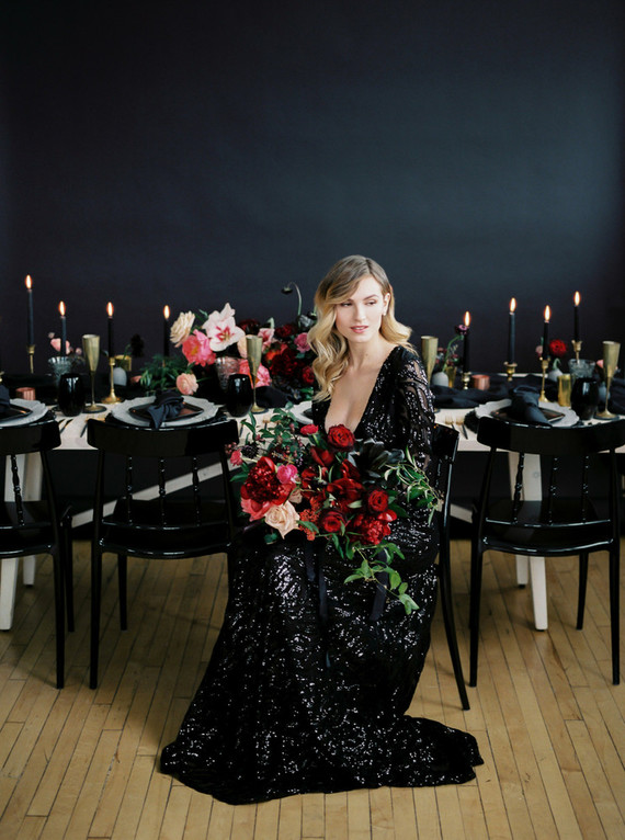 Romantic, moody red and black bridal inspiration