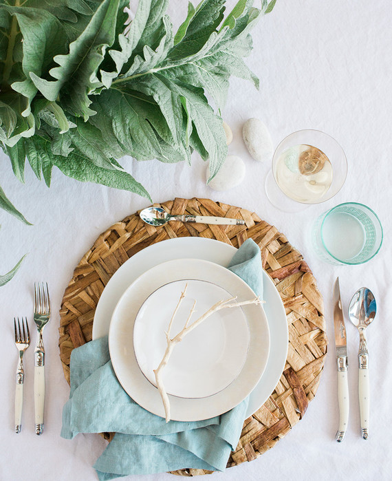 Beachy summer place setting with Crate and Barrel