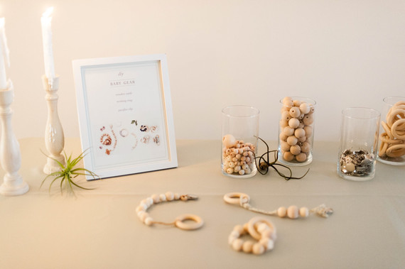 Gender neutral baby shower with DIY wood teether project