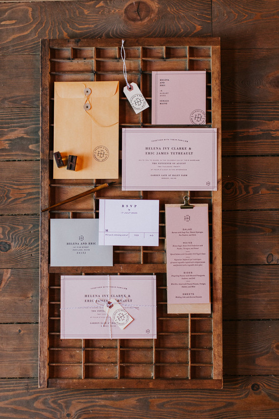 peach and rose fall invites