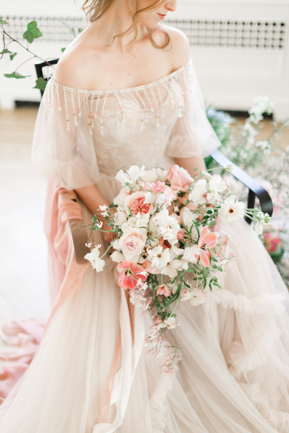 A stunning bridal editorial with a giant pink camellia tree