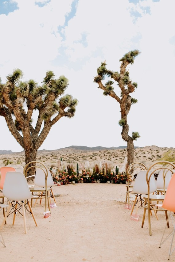 Colorful boho wedding reception in Joshua Tree