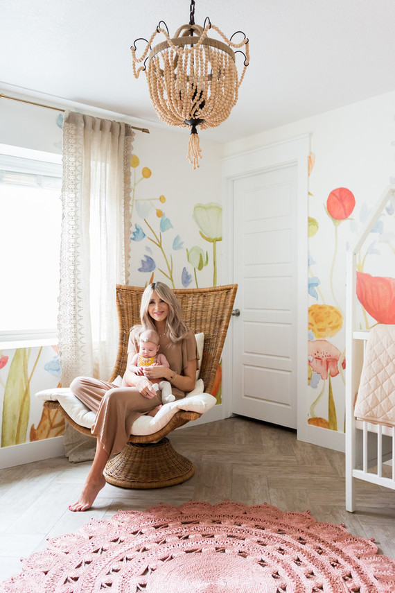 Cara Loren's floral feminine girl's nursery with Lulu & Georgia