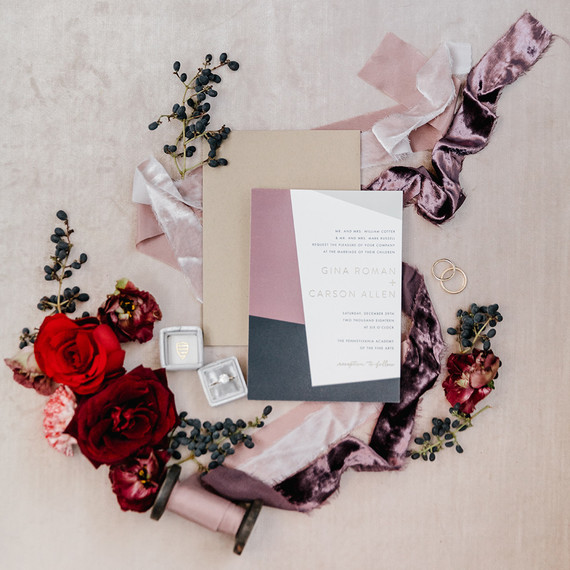 Elegant winter wedding invites for an art gallery wedding